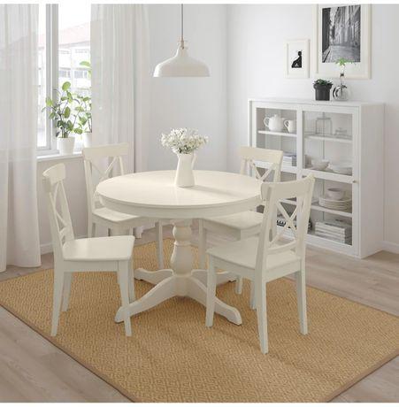 Stół okrągły drewniany biały plus 4 krzesła INGATORP Ikea