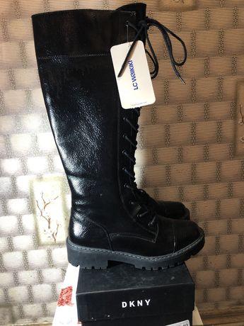 Сапоги на шнуровке, сапоги LC waikiki, лакированые сапоги
