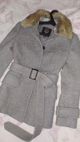 Шерстяное тёплое пальто с меховым воротником Prich 158-164 рост