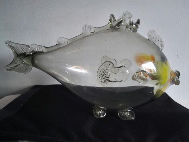 Ryba PRL szklana kryształowa Vintage jedyna w swoim rodzaju UNIKAT!!!