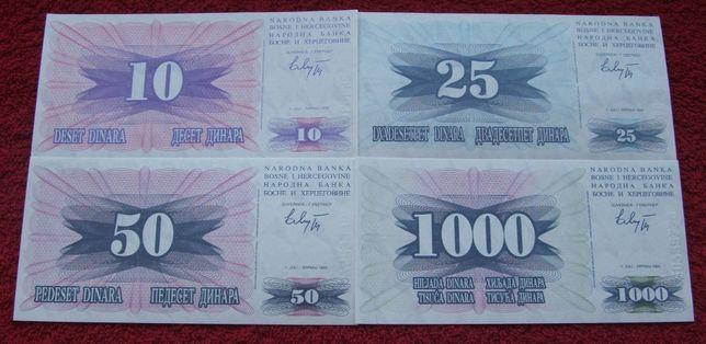 BOŚNIA I HERCEGOWINA Kolekcjonerskie Banknoty Zestaw - 4 sztuki UNC