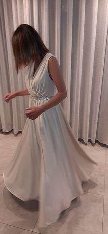 Suknia wieczorowa, bardzo elegancka, lejąca, brokatowa.Rozm. z metki L