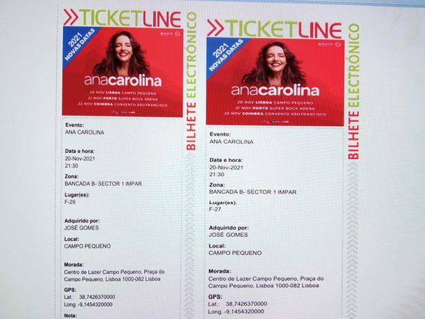 Vendo bilhetes - Ana Carolina (Lisboa)