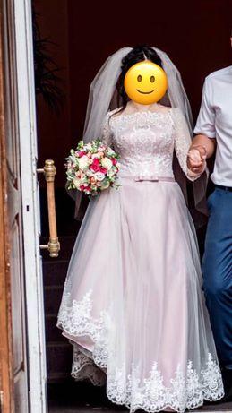 Свадебное платье , пудра , аренда , прокат