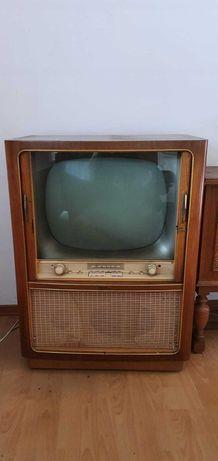 Stary TV Graetz Kalif telewizor antyk  retro zamykana szafka loft