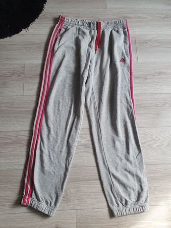Dresy adidas spodnie dresowe XL XXL 42 44 szare różowe trzy paski dres