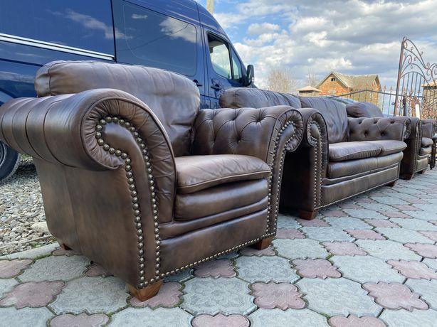 Chesterfield Шкіряний комплект 3+1+1  диван і два крісла мяка частина