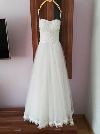 Suknia ślubna biała Princessa piórka, gorset 34-36