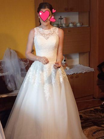 Piękna suknia ślubna śmietankowa rozmiar 36