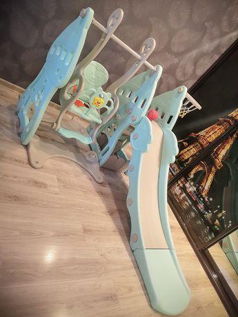 Игровой комплекс горка-качеля с музыкой и баскетбольным кольцом