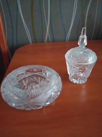 Kryształowa popielnic i cukierniczka