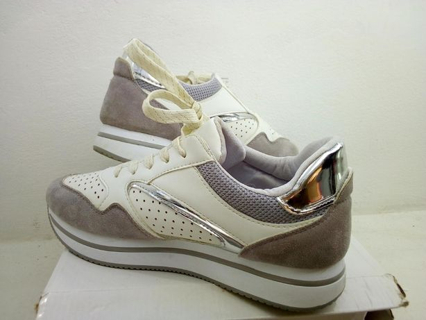 Sapatilhas cinzentas e prateadas - Ideal Shoes - Tamanho 40