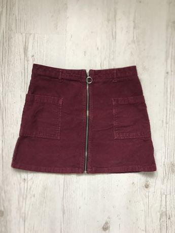 Bordowa spódniczka sztruksowa zip Topshop