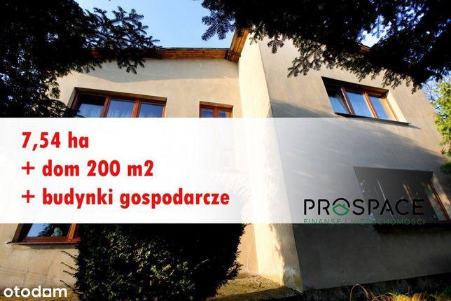 Dom + budynki gospodarcze+7,54 ha +las