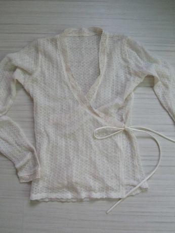bluzka zakładana sweterek ażurowy biały koronkowy S M 36 38
