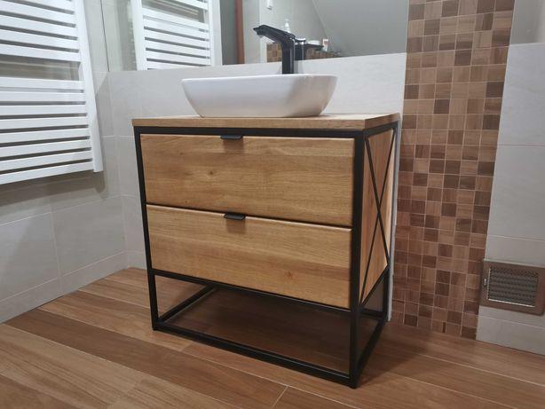 Szafka łazienkowa loft . Drewno dębowe i dwie szuflady cichy domyk .