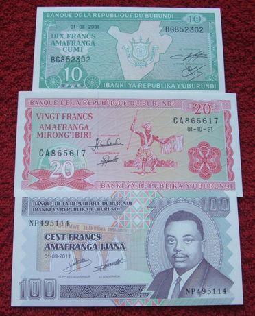 BURUNDI Kolekcjonerskie Banknoty Zestaw - 3 sztuki UNC