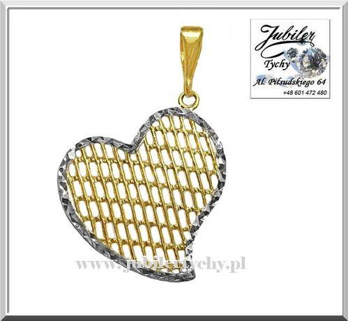 Złota zawieszka serce złote serduszko wisiorek złoto rodowane białe Au