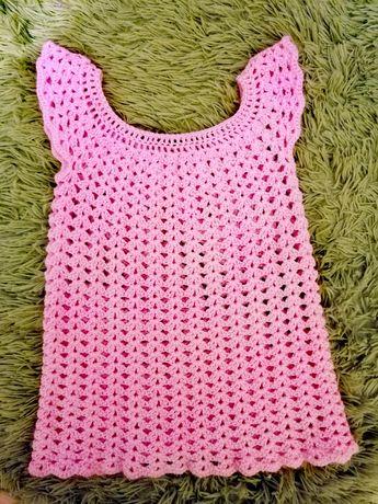 Sukienka /tunika ręcznie robiona szydełkowa r. 74-80
