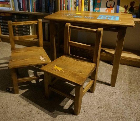 Stolik i krzesła dla dziecka / drewniany / hand made