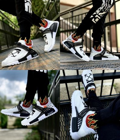 Мужские кроссовки Off White x Pharrell x Adidas NMD Hu Race 41-45 Топ
