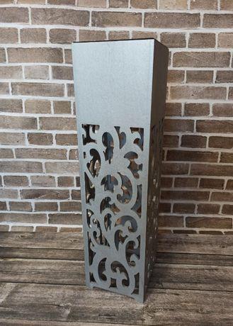 Kwietnik, Donica ażurowa wysoka 70 cm, Wzory, Srebrna