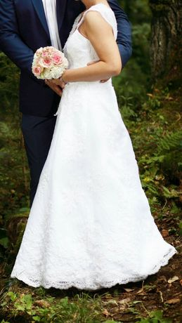 Suknia ślubna z koronką na pannę mlodą wzrost 155-165 cm-pilnie