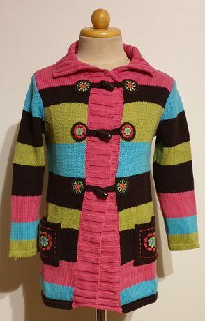 Długi sweterek dziewczęcy rozm.104