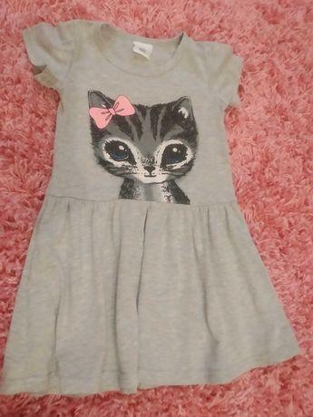 Sukienka letnia dla dziewczynki rozmiar 104, kotek