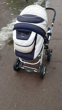 Детская коляска-трансформер ADAMEX YOUNG синий лен- белая кожа