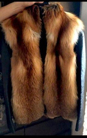Меховая шуба жилетка кожаная куртка трансформер из лисы