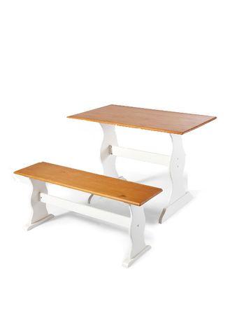 zestaw drewniany stól 120x70 + ławeczka NOWY biały sosnowy