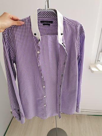 Fioletowa w kratkę koszula męska rozmiar 40