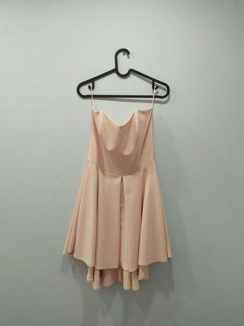 Sukienka rozkloszowana pudrowy róż rozmiar S