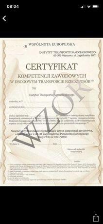 Certyfikat kompetencji zawodowych