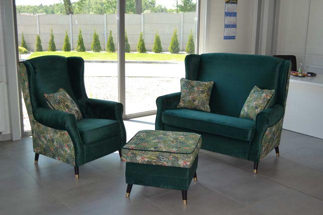 Zestaw mebli Uszak dwójka fotel pufa liście butelkowa zieleń