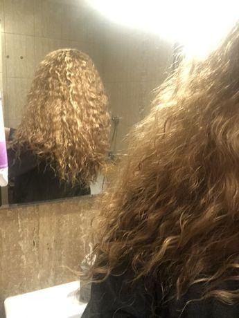 Peruka blond włosy kręcone loczki