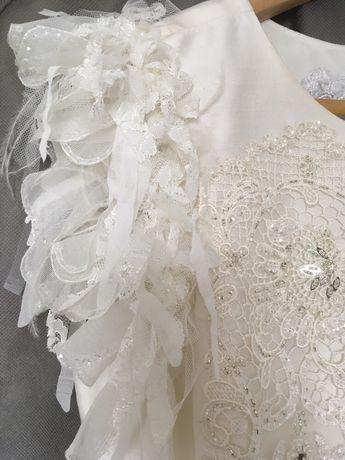 Suknia ślubna do kolan jedwab