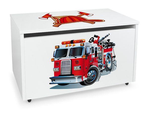 Duża drewniana skrzynia na zabawki XXL na kółkach Motyw:Straż Pożarna