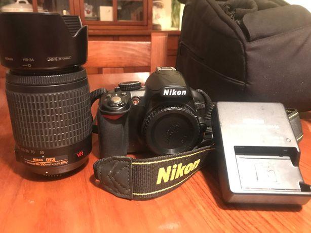 Nikon D3100 + Lente Objetiva Nikon DX VR 55-200 f4-5.6 + Filtro UV