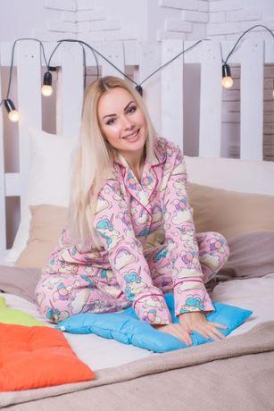 Теплая пижама женская с единорогами