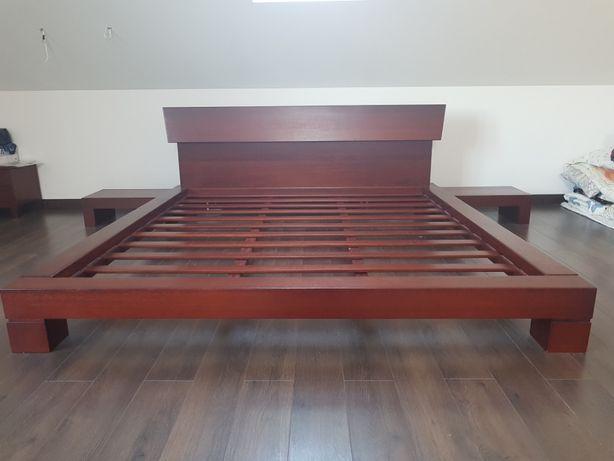 Двуспальная кровать из индонезийского дерева (мербау) японский стиль