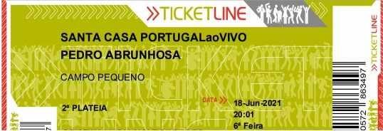 Bilhete 2ª Plateia-18 Junho-Pedro Abrunhosa-Campo Pequeno
