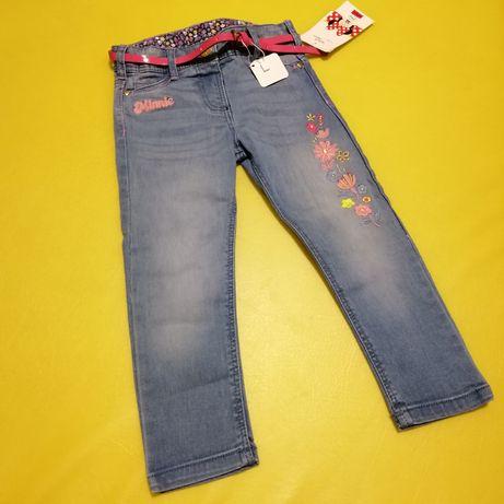 Джинсы штаны C&A Германия Disney Minnie Mouse с поясом 1-2 года