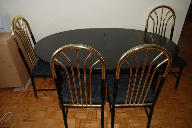 Stół owalny czarny rozkładany