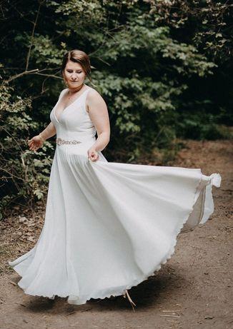 Suknia ślubna L, 2 welony, śmietanowa biel