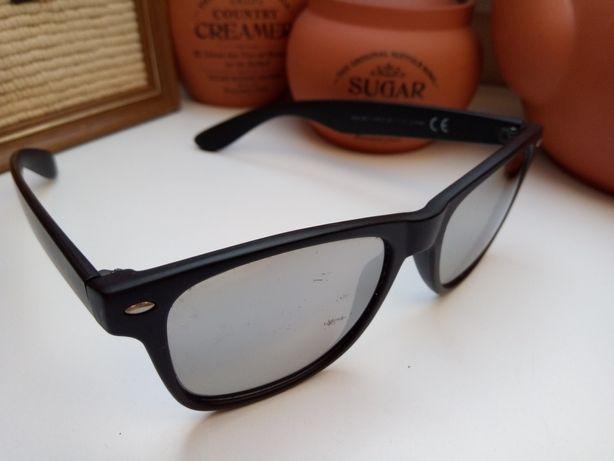 Okulary lustrzanki czarne nerdy wayfarer