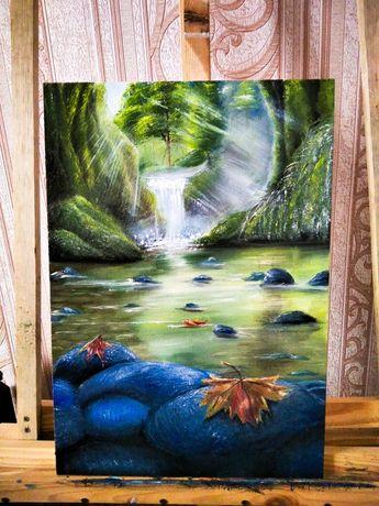 Картина маслом. Картина на холсте. Мариуполь. Живопись. Природа. Озеро