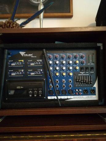 4 x Mikrofon AZUSA PA-180 UHF 4 kanały (4 mikrofony nagłowne) plus dwa
