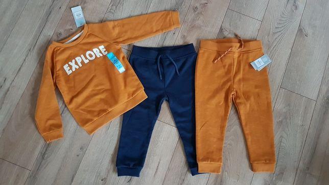Dres chlopiecy spodnie 2 pak i bluza r 98